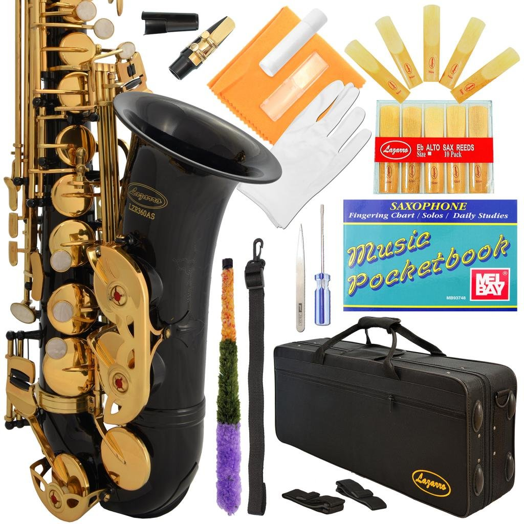 Lazarro Professional Black-Gold Keys Eb E Flat Alto Saxophone Sax, 11 Reeds, Case & Many Extras - 24 COLORS Available - 360-BK